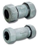 "2"" x 2"", Compression x Compression, 125 PSI WOG, Malleable Iron, Long, Straight, Coupling"