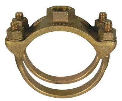 "9.05"", 1"" AWWA/CC FPT Outlet, 200 PSI, UNS C83600 85-5-5-5 Brass, C65100 Silicone Bronze Double Strap, Single Outlet, Service Saddle"