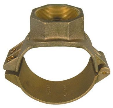 "6"", 3/4"" AWWA/CC FPT Outlet, 6.9"" OD Pipe, 200 PSI, UNS C83600 85-5-5-5 Brass, Single Silicone Bronze Bolt, Hinged, Single Outlet, Service Saddle"
