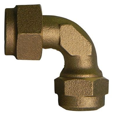 """1"""" x 1"""", Special Purpose Female Swivel x Q CTS Compression, Lead-Free, UNS C89833 Brass, 90D, Straight, Coupling"""