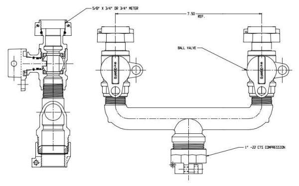"1"" x 3/4"" x 3/4"", CTS Compression x Meter Swivel Nut x Meter Swivel Nut, 7.5"" Spacing, Lead-Free, UNS C89833 Brass, U-Branch"