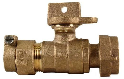 """5/8"""" x 3/4"""" Meter, 3/4"""" x 5/8"""" x 3/4"""" x 3.75"""" Pipe, -22 CTS Compression x Meter Swivel, 300 PSIG, Lead-Free, Brass, Lock Wing, Ball, Straight, Meter Stop"""