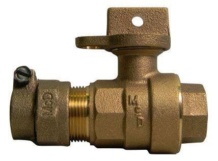 "2"", -44 PVC Compression x FPT, 300 PSIG, Lead-Free, Brass, Lock Wing, Ball, Regular Pattern, Curb Stop"