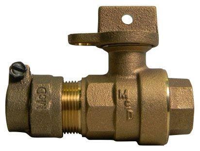"3/4"" x 5/8"" x 3/4"", -33 PEP Compression x FPT, 300 PSIG, Lead-Free, Brass, Lock Wing, Ball, Regular Pattern, Curb Stop"