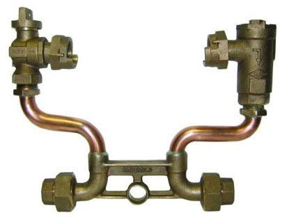 """7"""" Setter Height, 5/8"""" x 3/4"""" Pipe, Double Purpose Union x Double Purpose Union, 85 PSIG, Lead-Free, Brass, Lock Wing, Horizontal, Standard, Meter Setter"""