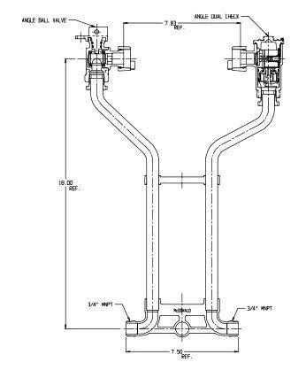 "9"" Setter Height, 5/8"" x 3/4"" Pipe, MPT x MPT, 85 PSIG, Lead-Free, Brass, Lock Wing, Horizontal, Standard, Meter Setter"