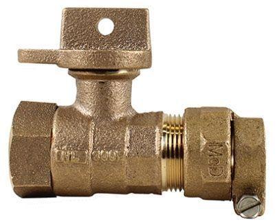 "1"" x 3/4"" x 1"", -22 CTS Compression x FPT, 300 PSIG, Lead-Free, Brass, Lock Wing, Ball, Regular Pattern, Curb Stop"