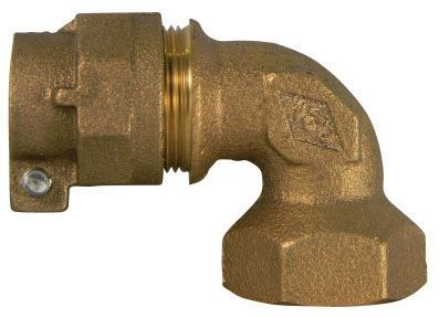 """1"""" x 1"""", -22 CTS Compression x FPT, Lead-Free, UNS C89833 Brass, 90D, Straight, Elbow"""