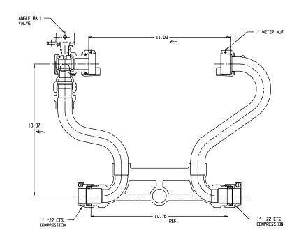 "10.37"" Setter Height, 1"" Pipe, -22 CTS MacPak Integral Compression x -22 CTS MacPak Integral Compression, 85 PSIG, Lead-Free, Brass, Lock Wing, Horizontal, Standard, Meter Setter"