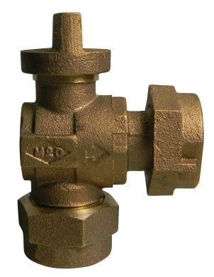 """5/8"""" x 3/4"""" Meter, 3/4"""" Pipe, Q CTS Compression x Meter Swivel Nut, 300 PSIG, Lead-Free, Brass, Lock Wing, Angle, Ball, Standard Port, Meter Stop"""