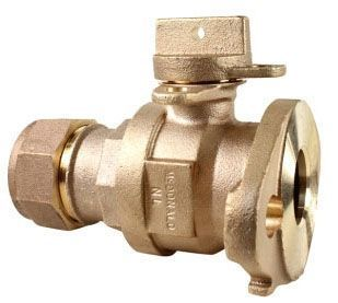 """5/8"""" x 3/4"""" Meter, 3/4"""" x 5/8"""" x 3/4"""" x 3.75"""" Pipe, Q CTS Compression x Meter Swivel, 300 PSIG, Lead-Free, Brass, Lock Wing, Ball, Straight, Meter Stop"""