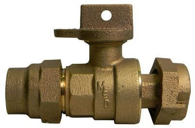 "1"" Meter, 1"" Pipe, G CTS Compression x Meter Swivel, 300 PSIG, Lead-Free, Brass, Lock Wing, Ball Style, Meter Stop"