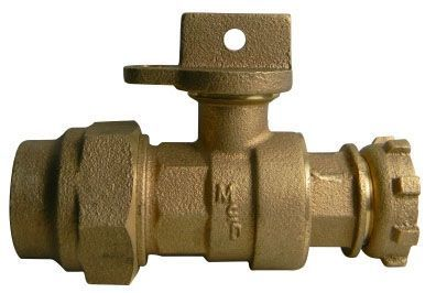 "3/4"" x 5/8"" x 1"", G CTS Compression x Yoke Star Nut, 300 PSIG, Lead-Free, Brass, Lock Wing, Ball, Straight, Meter Stop"
