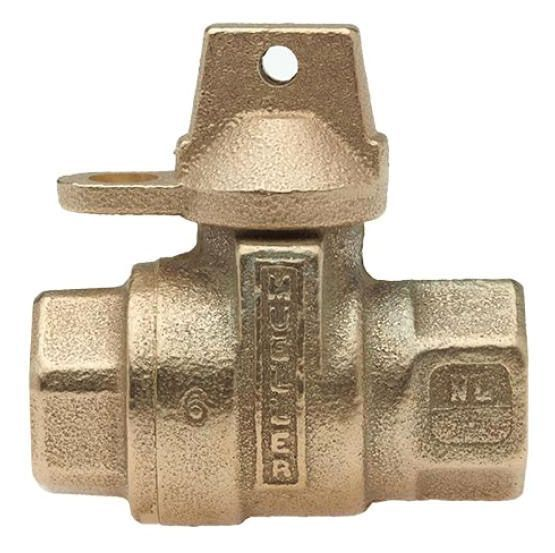 """3/4"""", FPT x FPT, Lead-Free, Cast Brass Alloy, 1/4 Turn, Lock Wing, Straight, In-Line Meter, Reduced Port, Service Valve"""