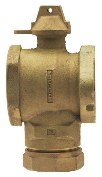 """1-1/2"""" Meter, 1-1/2"""" Pipe, CTS 110 Conductive Compression x Meter Flanged, Lead-Free, Cast Brass Alloy, 1/4 Turn, Lock Wing, Ball, Angle, Meter Valve"""