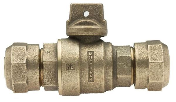 """1"""", CTS 110 Conductive Compression x CTS 110 Conductive Compression, 300 PSIG, Lead-Free, Solid Brass, Reduced Port, Ball Curb Valve with Reduced Port Angle Ball Valve"""