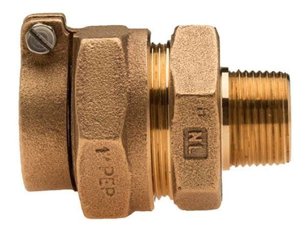 "1"" x 3/4"" x 1"" x 3/4"", IPS PE Pack Joint x MPT, Lead-Free, Brass Alloy, Straight, Coupling"