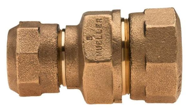 """3/4"""" x 3/4"""", CTS 110 Conductive Compression x CTS 110 Conductive Compression, Lead-Free, Fluorocarbon Coated Brass, 3-Piece, Straight, Union with Brass Nut"""