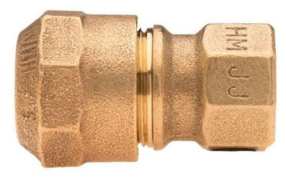 "1"" x 3/4"" x 1"" x 3/4"", CTS 110 Conductive Compression x FPT, Lead-Free, Fluorocarbon Coated Brass Alloy, Straight, Coupling"