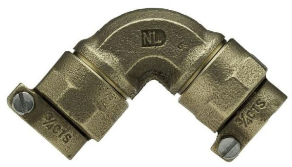 """2"""" x 2"""", CTS Pack Joint x CTS Pack Joint, Lead-Free, Brass Alloy, 90D, 1/4 Bend Union, Straight, Elbow with Bronze Alloy Nut"""