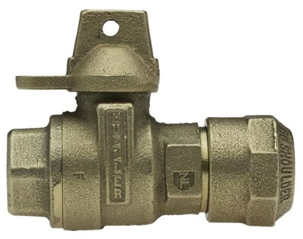 """2"""" Meter, 2"""" Pipe, CTS Pack Joint x FPT, Lead-Free, Cast Brass Alloy, 1/4 Turn, Lock Wing, Straight, In-Line Meter, Service Valve"""
