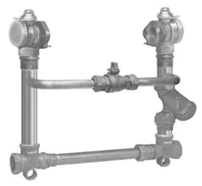 """2"""" Meter, 18"""" Riser, 2"""" Pipe, FPT x FPT, Copper, Elevated Bypass with Ball Valve with Locking Device, Horizontal Inlet/Outlet, Meter Setter"""