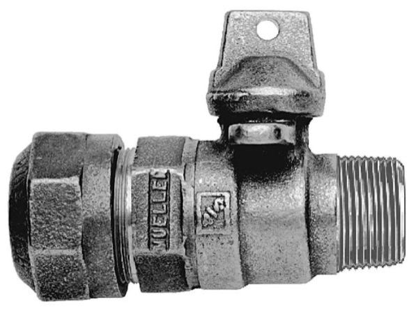 """3/4"""", CTS 110 Conductive Compression x MPT, 300 PSIG, Solid Brass, Ball Curb Valve"""