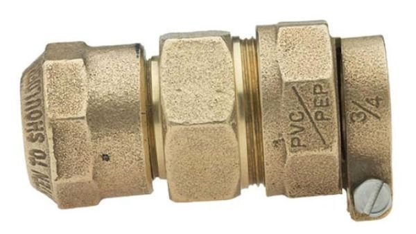 "1"" x 1"", CTS 110 Conductive Compression x IPS PE Pack Joint, Lead-Free, Fluorocarbon Coated Brass Alloy, Straight, Coupling"