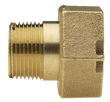 "5/8"" x 3/4"" x 3/4"" x 5/8"" x 3/4"" x 3/4"", MPT x Meter Swivel Nut, 2-1/2"" L, Lead-Free, Brass Alloy, Straight, Coupling with Brass Alloy Coupling Nut"
