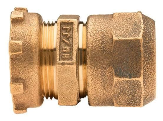 "1"" x 1"", Lock Nut x CTS 110 Conductive Compression, Fluorocarbon Coated Brass Alloy, Straight, Coupling"