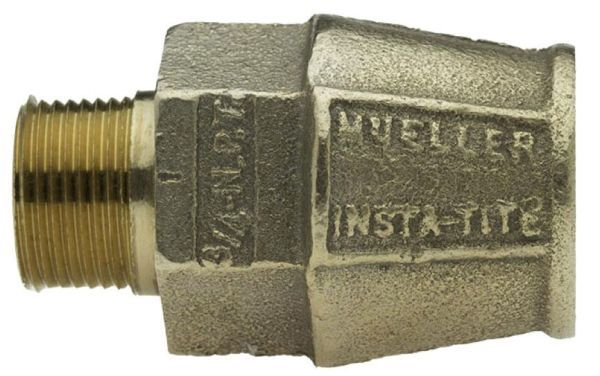 """3/4"""" x 3/4"""", IPS PE INSTA-TITE x MPT, 2.53"""" L, Lead-Free, White, Brass Alloy, Straight, Coupling"""