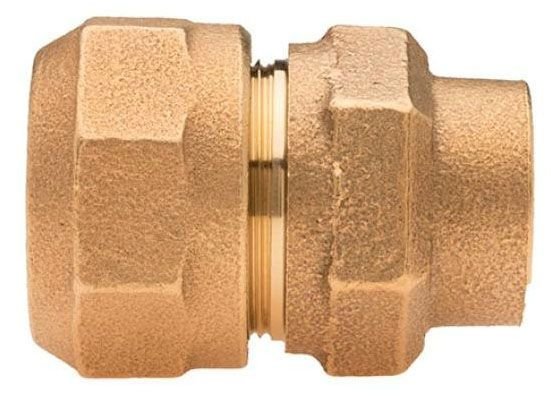 "3/4"" x 3/4"", IPS PE 110 Compression x FPT, Lead-Free, Fluorocarbon Coated Brass Alloy, Straight, Coupling"