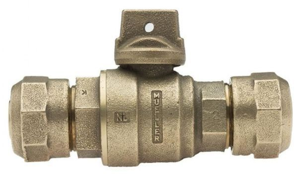 """2"""", CTS Pack Joint x CTS Pack Joint, 300 PSIG, Solid Brass, Ball Curb Valve"""
