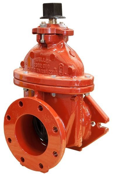 """10"""", Mechanical Joint x Class 125 Flanged, 350 PSI, Lead-Free, Manganese Bronze Non-Rising Stem, Fusion Bonded Epoxy Coated Ductile Iron, 2"""" Square Open Left Wrench Nut, Resilient Wedge, Gate Valve without Accessory"""