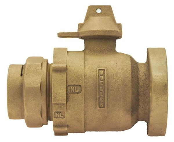 """2"""" Meter, 2"""" Pipe, CTS Pack Joint x Meter Flanged, Lead-Free, Cast Brass Alloy, 1/4 Turn, Lock Wing, Straight, In-Line Meter, Meter Valve"""