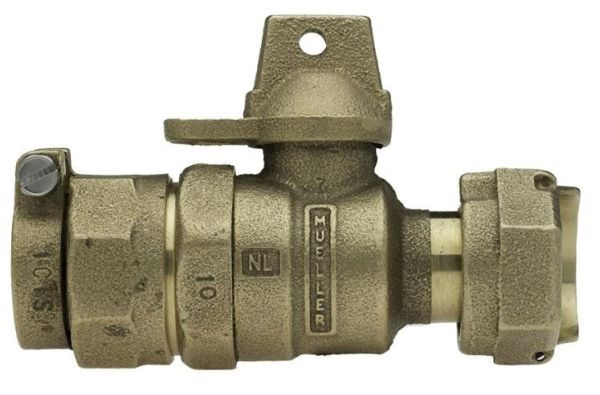 """5/8"""" x 3/4"""" Meter, 3/4"""" Pipe, CTS 110 Conductive Compression x Meter Swivel Nut, Lead-Free, Cast Brass Alloy, 1/4 Turn, Lock Wing, Straight, In-Line Meter, Reduced Port, Meter Valve"""