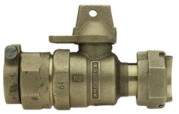 """5/8"""" x 3/4"""" Meter, 5/8"""" x 3/4"""" x 1"""" Pipe, CTS Pack Joint x Meter Swivel Nut, Lead-Free, Cast Brass Alloy, 1/4 Turn, Lock Wing, Straight, In-Line Meter, Meter Valve"""
