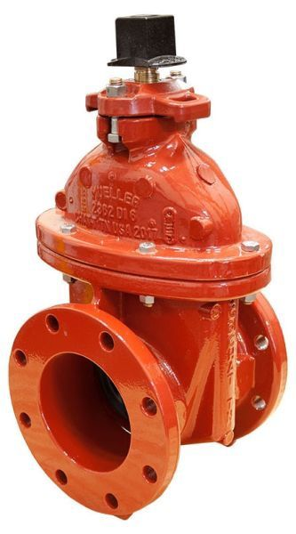 """8"""", Class 125 Flanged x Class 125 Flanged, 350 PSI, Lead-Free, Manganese Bronze Non-Rising Stem, Fusion Bonded Epoxy Coated Ductile Iron, 2"""" Square Open Left Wrench Nut, Resilient Wedge, Gate Valve"""