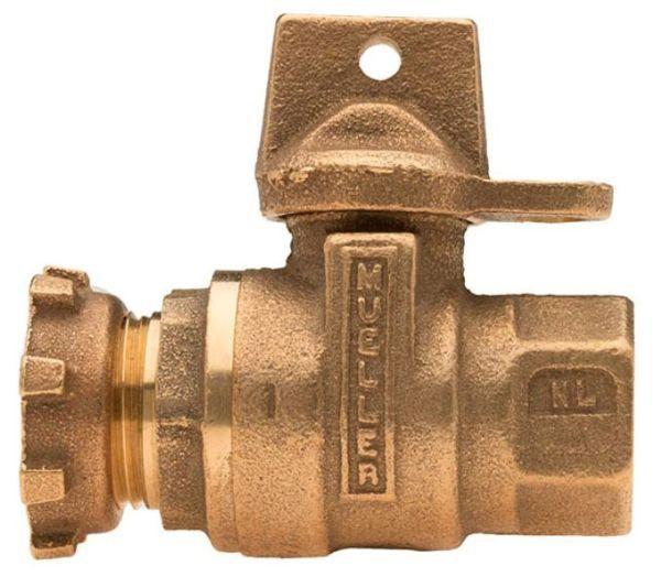 "5/8"" x 3/4"" Meter, 5/8"" x 3/4"" x 3/4"" Pipe, FPT x Lock Nut, Brass, 1/4 Turn, Lock Wing, Straight, In-Line Meter, Reduced Port, Meter Valve"