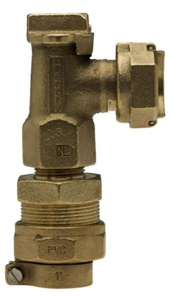 """5/8"""" x 3/4"""" Meter, 5/8"""" x 3/4"""" x 3/4"""" Pipe, CTS 110 Conductive Compression x Meter Swivel Nut, 180D Turn, Lock Wing, Ground Key, Angle, Meter Valve"""