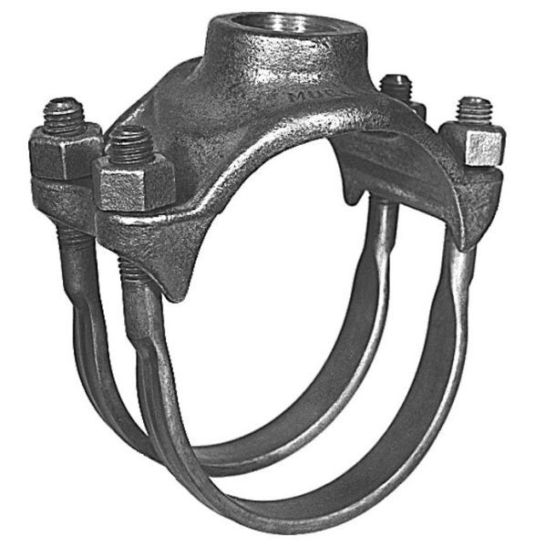"4"", 1-1/2"" AWWA/CC Taper NPT Outlet, 4.74 to 5.1"" OD Pipe, 200 PSIG, Brass, Double Strap, Single Outlet, Saddle for Cast Iron/Ductile Iron Pipe"