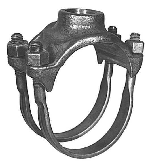 """6"""", 1"""" AWWA/CC Taper NPT Outlet, 6.59 to 7.37"""" OD Pipe, 500 PSIG, Nylon Ductile Iron, Double Strap, Single Outlet, Saddle for Cast Iron/Ductile Iron/Steel Pipe"""