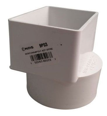 """6"""", Offset, 4"""" x 6"""" x 3"""", PVC, White, Hub, 5 PSI, Downspout Adapter for Sewer and Drain Pipe"""