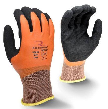 X-Large, Orange Shell, Black Palm, Navy Blue Hem, Sandy, Latex Dipped Nylon Shell, Elastic/Slip-On/Seamless Cuff, Dipped, Work Gloves