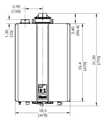 RUR199IN RINNAI SENSEI NAT GAS INDOOR CONDENSING TANKLESS WATER HEATER, ISOLATION VALVES,INCLUDED RECIRC. PUMP 15,000/199,000 BTU.26-9.8 GPM FLOW RANGE
