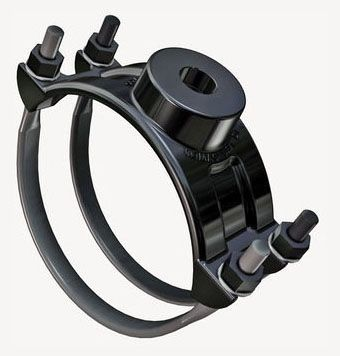 "8"", 1"" CC NPT Outlet, 8.63 to 9.05"" OD Pipe, 350 PSI, Shop Coated Ductile Iron, Steel U-Bolt, Single Outlet, Saddle"