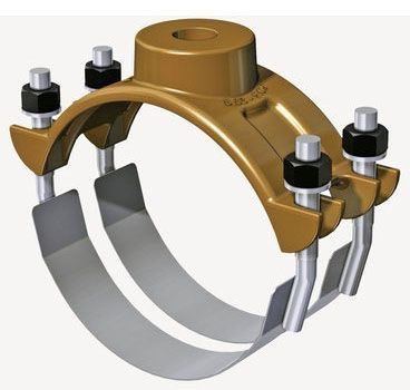 "8"", 1"" CC NPT Outlet, 8.63 to 9.62"" OD Pipe, 200 PSI, Bronze, Double Strap Clamping, Single Outlet, Saddle"