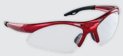 Smoke Mirror Polycarbonate Lens, Red Frame, Wrap Around, Anti-Fog, Scratch Resistant, Safety Glasses