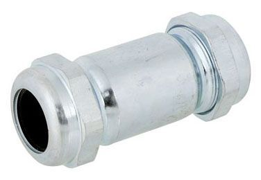 "3/4"" x 3/4"", Compression x Compression, 125 PSI, Long Pattern, Galvanized, Straight, Coupling"