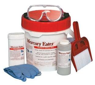 """SPT MERCKIT 10"""" x 7"""" x 9"""", 35.27 Oz, Polyethylene, Mercury, Spill Kit"""